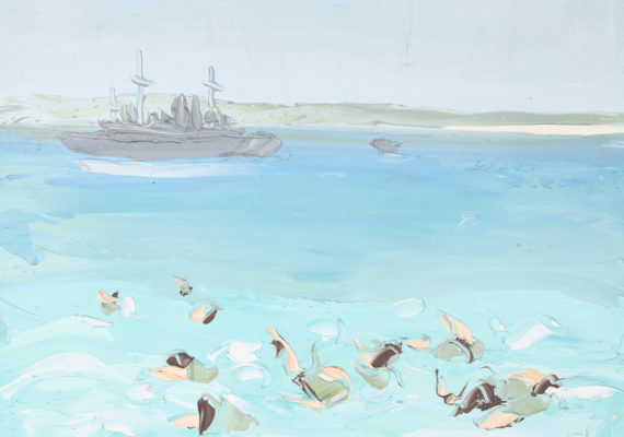 SALLY WEST: Troops Swimming at Anzac Cove